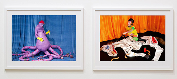 Anja Carr, giclée prints (performance documentation), Moments (Act 10) and Moments (Act 8), both 79x102 cm with frames, 2015 and 2014.