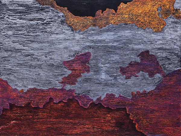 """Isak Hall, """"Apollon och Dionysos"""", 45x60 cm, blandteknik på ekpannå, 2016."""